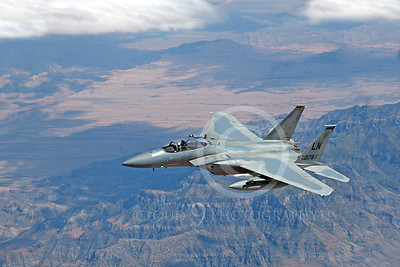 F-15USAF 00282 A flying McDonnell Douglas F-15 Eagle jet fighter USAF 850178 LN code, by Peter J Mancus