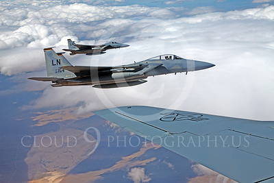 F-15USAF 00294 Two USAF McDonnell Douglas F-15 Eagle jet fighters off a USAF Boeing KC-135 Stratotanker LN code 86154, by Peter J Mancus