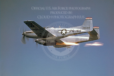 F-82 00002 A USAF North American F-82 Twin Mustang in flight with a rocket assist engine or firing rockets, military airplane picture, Official USAF Picture