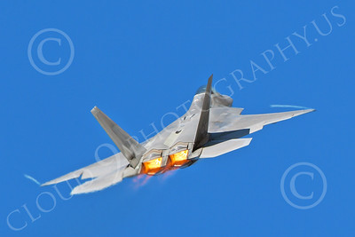 AB-F-22 00172 A USAF Lockheed Martin F-22 Raptor air superiority steatlh jet fighter in afterburner with wing tip contrails military airplane picture by Peter J Mancus