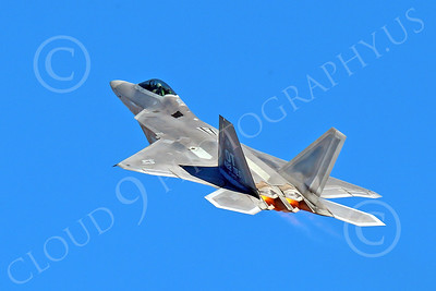 AB-F-22 00166 A flying USAF Lockheed Martin F-22 Raptor air superiority steatlh jet fighter OT code 422 TES in afterburner military airplane picture by Peter J Mancus
