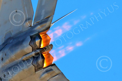 AB-F-22 00170 Close up of jet engine exhaust of a flying USAF Lockheed Martin F-22 Raptor air superiority steatlh jet fighter in afterburner military airplane picture by Peter J Mancus