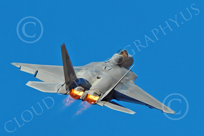 AB-F-22 00176 A flying USAF Lockheed Martin F-22 Raptor air superiority steatlh jet fighter in afterburner military airplane picture by Peter J Mancus