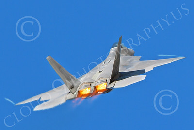 AB-F-22 00174 A USAF Lockheed Martin F-22 Raptor air superiority steatlh jet fighter in afterburner with wing tip contrails military airplane picture by Peter J Mancus