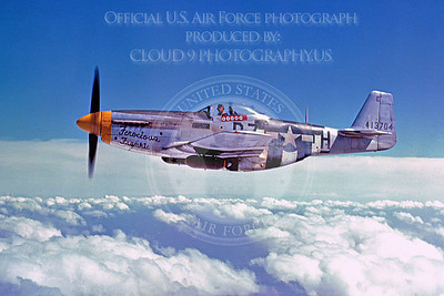 P-51 00004 US Army Air Corps North American P-51 Mustangs FEROCIOUS FRANKIE, military airplaane picture, Official USAF Picture