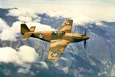 P-51 00018 An in-flight two tone camoflauge early model North American P-51 Mustang, military airplane picture, Official USAF Picture