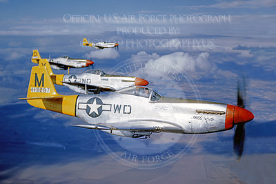 P-51 00006 A US Army Air Force North American P-51 Mustang, MIss Ruth, in flight with three other P-51 Mustangs, airplane picture, Official USAF Picture