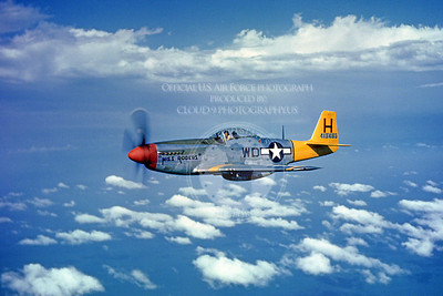 P-51 00010 Miss Rogers, an in-flight US Army Air Force North American P-51 Mustang WWII fighter, military airplane picture, Official USAF Picture