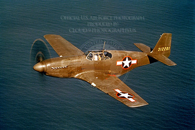 P-51 00020 An in-flight olive drab early model North American P-51 Mustang over water, military airplane picture, Official USAF Picture