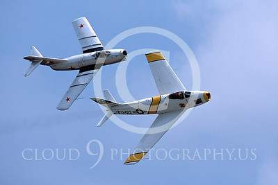 WB - North American F-86 Sabre 00064 North American F-86F Sabre US Air Force warbird markings and MiG-15 Soviet Air Force warbird markings by Peter J Mancus