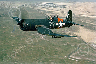 F4U 00002 A superb in-flight photo of a US Navy Chance Vought F4U Corsair WWII and early Cold War fighter, by W T Larkins
