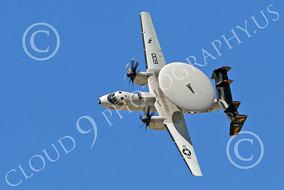 E-2USN 00096 A flying USN Grumman E-2 Hawkeye turns left, by Peter J Mancus