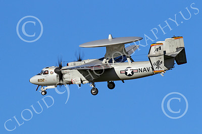 E-2USN 00166 A USN VAW-125 Grumman E-2 Hawkeye lands at NAS Fallon, by Peter J Mancus