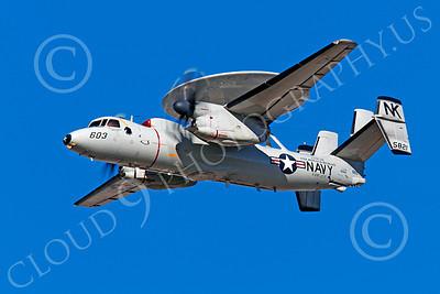 E-2USN 00044 A flying Grumman E-2C Hawkeye USN 165821 VAW-113 BLACK EAGLES assigned to USS RONALD REAGAN, by Peter J Mancus