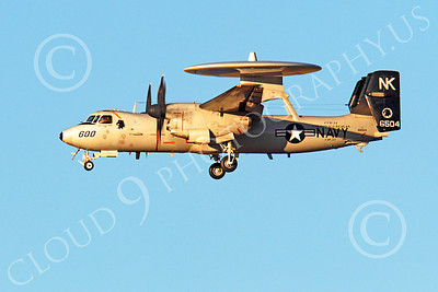 E-2USN 00030 Grumman E-2C Hawkeye USN 6504 VAW-113 BLACK EAGLES USS Ronald Reagan lands at NAS Fallon, by Peter J Mancus