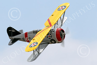 WB - Grumman F3F 00042 Quarter front view of a flying Grumman F3F biplane fighter warbird turning right, airplane picture, by Peter J Mancus