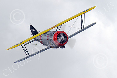 WB - Grumman F3F 00034 Head on view of a flying Grumman F3F biplane fighter warbird, airplane picture, by Peter J Mancus