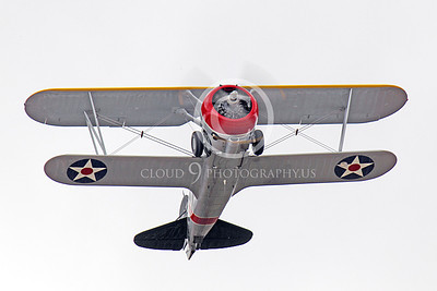WB - Grumman F3F 00030 Bottom view of Grumman F3F biplane fighter warbird on take-off, by Peter J Mancus