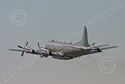 P-3USN 00018 An in-flight US Navy Lockheed P-3 Orion with a large pod, military airplane picture, by Tim Perkins