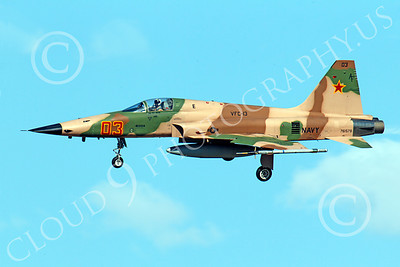 F-5USN 00038 Northrop F-5E Freedom Fighter USN 761578 VFC-13 FIGHTING SAINTS banks to land at NAS Fallon, by Peter J Mancus