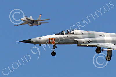 F-5USN 00056 Northrop F-5E Freedom Fighter USN 761552 VFC-13 FIGHTING SAINTS banks to land at NAS Fallon, by Peter J Mancus
