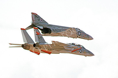 FORM 00002 A USN F-4 Phantom II VF-121 PACEMAKERS and a USN F-14 Tomcat VF-114 AARDVARKS fly in formation military airplane picture by Michael Grove, Sr