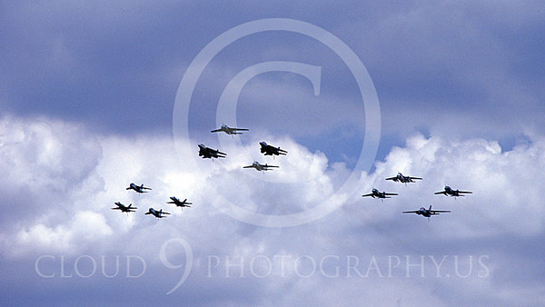 FORM 00036 Twelve USN airplanes fly in formation, military airplane picture by Michael Grove, Sr