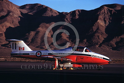 CAFSB 00005 A static Canadian Armed Forces CT-114 Tutor Snowbird Nellis AFB 12-1979 aerobatic team picture by Charles Heatley