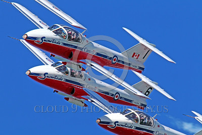 CAFSB 00002 A dynamic, dramatic, tight crop of a tight flying formation of the Canadian Armed Forces' Snowbirds flying Canadair's CT-114 Tutor military airplane picture by Peter J Mancus