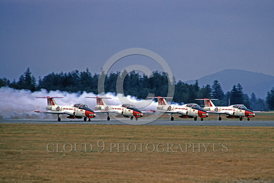 CAFSB 00007 Canadian Armed Forces CT-114 Tutor Snowbirds older color scheme take off Abbottsford 8-1973 aerobatic team picture by Peter B Lewis
