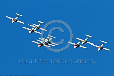 CAFSB 00004 A nine plane Canadian Armed Forces' Snowbirds formation of Canadair CT-114 Tutors military airplane picture by Peter J Mancus DONE