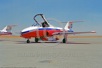 CAFSB 00009 A static Canadair CT-114 Tutor Canadian Armed Forces Snowbirds jet trainer and flight demo airplane at Travis AFB, aerobatic military fight demonstration team airplane picture by Carl E Porter        DONEwt copy