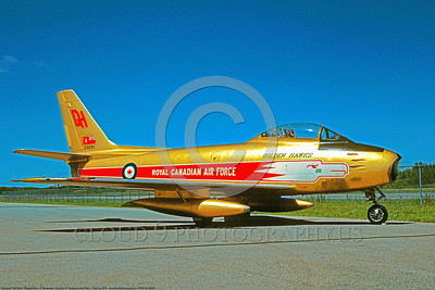 FFDT-GH 00001 A static Canadair CF-86 Sabre jet fighter Royal Canadian Air Force Golden Hawks 7-1990 aerobatic fight demostration team military airplane picture by R Dansseau D