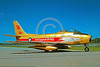 FFDT-GH 00001 A static Canadair CF-86 Sabre jet fighter Royal Canadian Air Force Golden Hawks 7-1990 aerobatic fight demostration team military airplane picture by R Dansseau