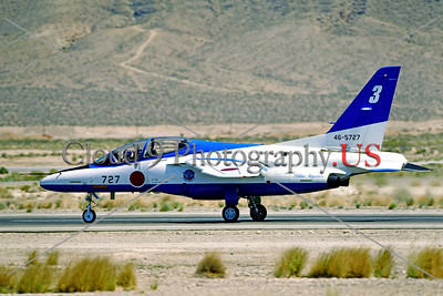 JBI-T-4 0001 A JASDF {Japanese Air Self-Defense Force) Blue Impulse aerobatic team Kawasaki T-4 jet trainer 46-5727 taxing at Nellis AFB in 1997, foreign flight demonstration team picture by Peter J  Mancus