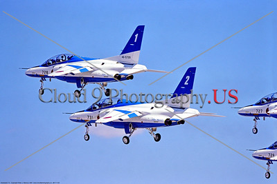 JBI-T-4 0002 Flying JASDF (Japanese Air Self-Defense Force) Kawasaki T-4 Blue Impulse aerobatic team jet trainers at Nellis AFB 1997, military aerobatic team picture by Peter J  Mancus     DONEwt