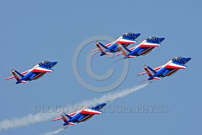 Patrouille de France 00054 A climbing formation of Dassault-Breguet Dornier Alpha Jets Patrouille de France military airplane picture by Peter J Mancus