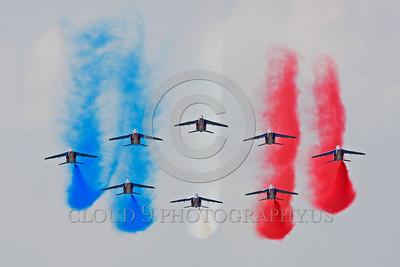Patrouille de France 00032 A flying formation of Dassault-Breguet Dornier Alpha Jets Patrouille de France military airplane picture by Peter J Mancus