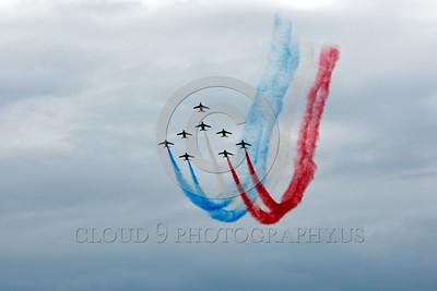 Patrouille de France 00044 A flying formation of Dassault-Breguet Dornier Alpha Jets Patrouille de France military airplane picture by Peter J Mancus