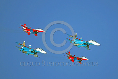 RAFK 00012 Two Russian Air Force MiG-29 Fulcrum SWIFTS and two Russian Air Force Sukhoi Su-27 Flanker KNIGHTS flying formation aerobatic military flight demostration team airplane picture by Paul Ridgway