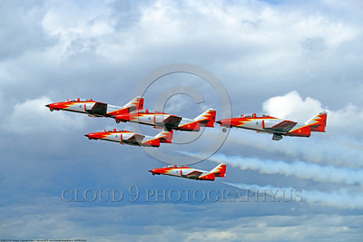 SAFPA 00002 A flying formation of Spanish Air Force CASA C-101 Aviojets Patrulla Aguila aerobatic military flight demonstration team airplane picture 9-1991 by Peter J Mancus