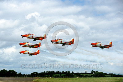 SAFPA 00004 A flying formation of Spanish Air Force CASA C-101 Aviojets Patrulla Aguila aerobatic military flight demonstration team airplane picture 9-1991 by Peter J Mancus