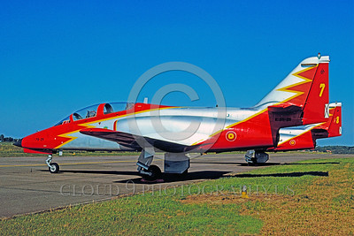 SAFPA 00001 A static Spanish Air Force CASA C-101 Aviojet Patrulla Aguila aerobatic military flight demonstration team airplane picture 9-1991 by Peter J Mancus