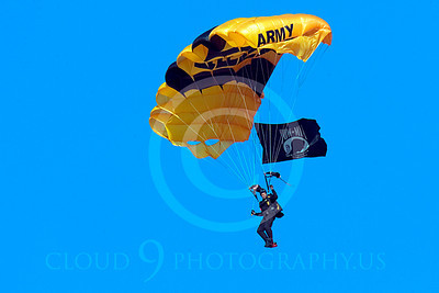 GoldK 00030 A US Army GOLDEN KNIGHT soldier floats to earth under his nylon canopy by Peter J Mancus