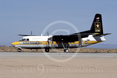 GoldK 00029 A taxing Fokker C-131 Troopship US Army GOLDEN KNIGHTS Edwards AFB 11-2003 military airplane picture by Peter J Mancus
