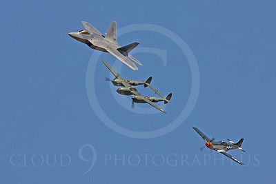 HF - 00072 Lockheed F-22 Raptor, Lockheed P-38 Lightning, and North American P-51D Mustang by Peter J Mancus