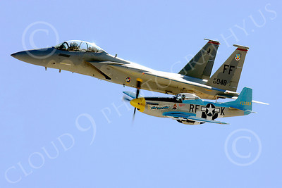 HF 00002 McDonnell Douglas F-15 Eagle and North American P-51 Mustang, by Peter J Mancus