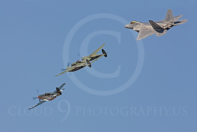 HF - 00080 North American P-51D Mustang, Lockheed P-38 Lightning, and Lockheed F-22 Raptor by Peter J Mancus