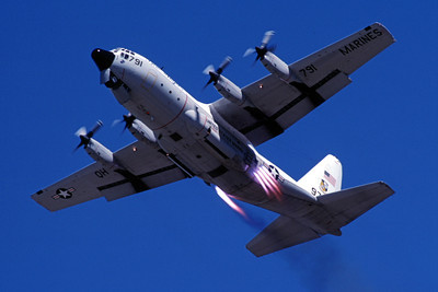 JATO 00004 A Lockheed C-130 Hercules Blue Angeles JATO take off 7-1989 military airplane picture by Peter J Mancus