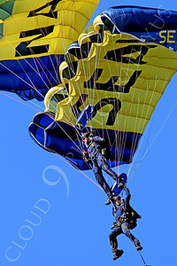 LEAPFROGS 00009 Two US Navy LEAPFROG Seal parachute team members demonstrate their skills, by Peter J Mancus